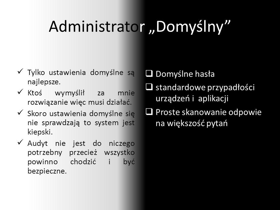 """Administrator """"Domyślny Tylko ustawienia domyślne są najlepsze."""
