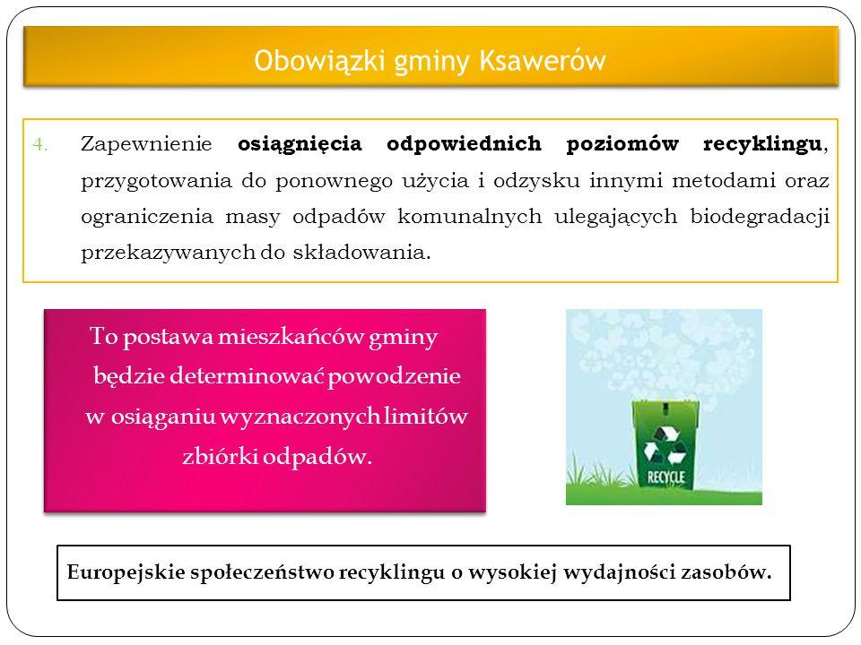 4. Zapewnienie osiągnięcia odpowiednich poziomów recyklingu, przygotowania do ponownego użycia i odzysku innymi metodami oraz ograniczenia masy odpadó