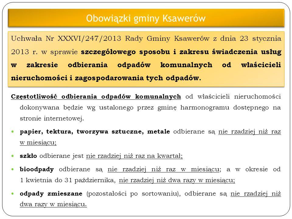 Uchwała Nr XXXVI/247/2013 Rady Gminy Ksawerów z dnia 23 stycznia 2013 r. w sprawie szczegółowego sposobu i zakresu świadczenia usług w zakresie odbier