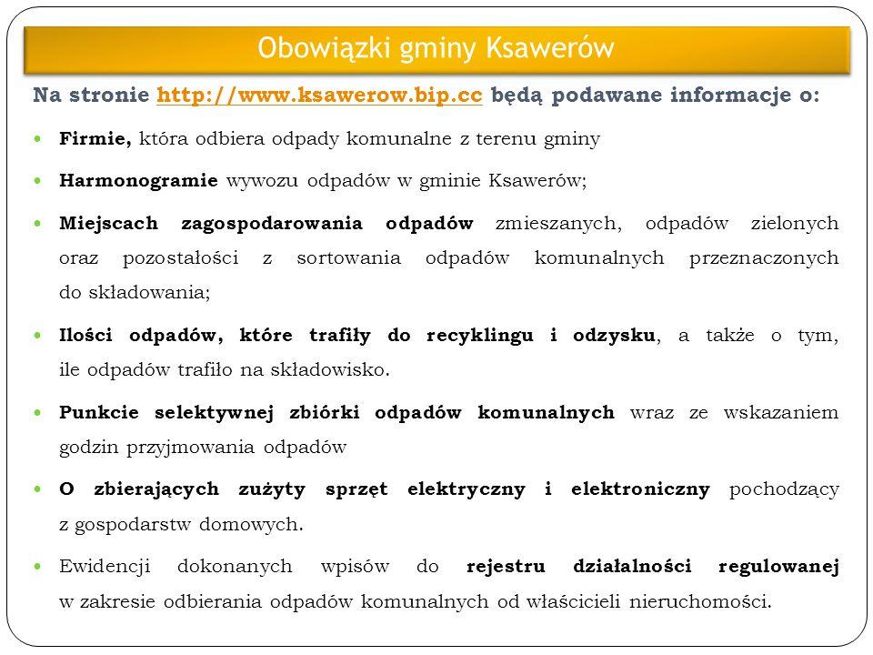 Na stronie http://www.ksawerow.bip.cc będą podawane informacje o:http://www.ksawerow.bip.cc Firmie, która odbiera odpady komunalne z terenu gminy Harm