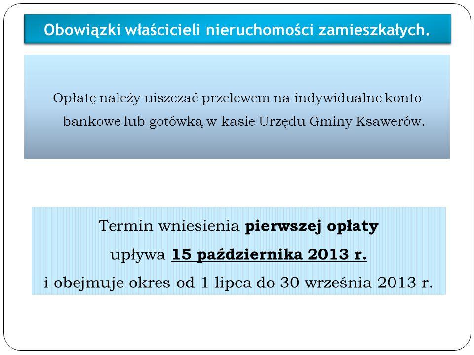 Termin wniesienia pierwszej opłaty upływa 15 października 2013 r. i obejmuje okres od 1 lipca do 30 września 2013 r. Opłatę należy uiszczać przelewem