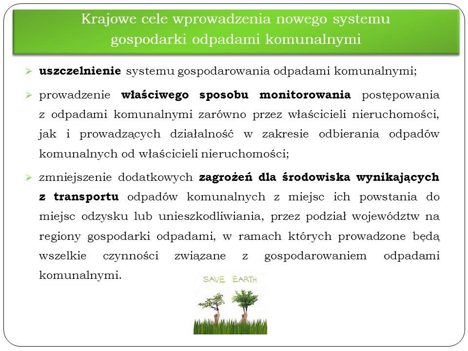  uszczelnienie systemu gospodarowania odpadami komunalnymi;  prowadzenie właściwego sposobu monitorowania postępowania z odpadami komunalnymi zarówn