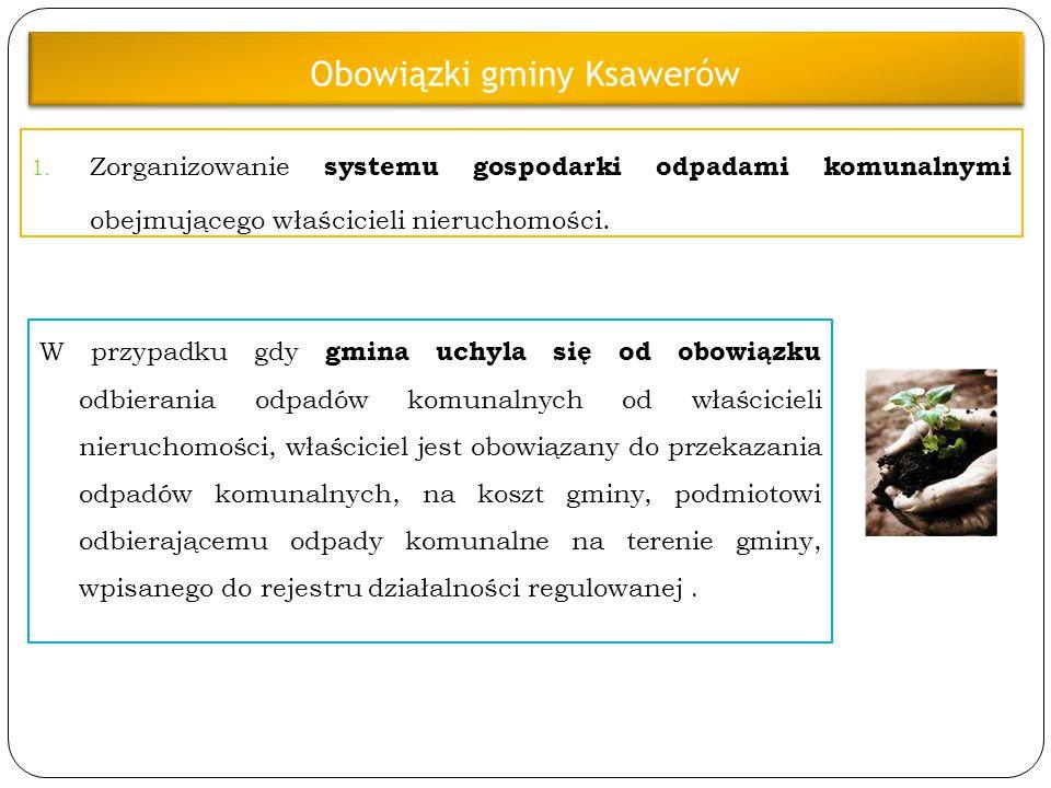 Obowiązki gminy Ksawerów 1. Zorganizowanie systemu gospodarki odpadami komunalnymi obejmującego właścicieli nieruchomości. W przypadku gdy gmina uchyl
