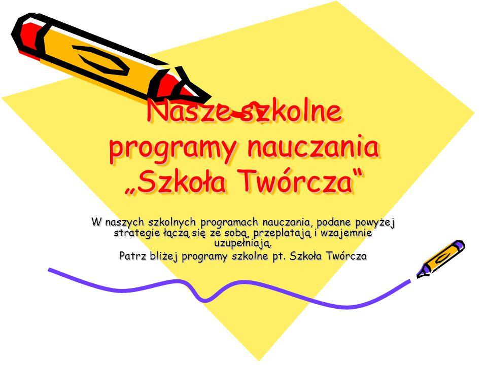 """Nasze szkolne programy nauczania """"Szkoła Twórcza"""" Nasze szkolne programy nauczania """"Szkoła Twórcza"""" W naszych szkolnych programach nauczania, podane p"""