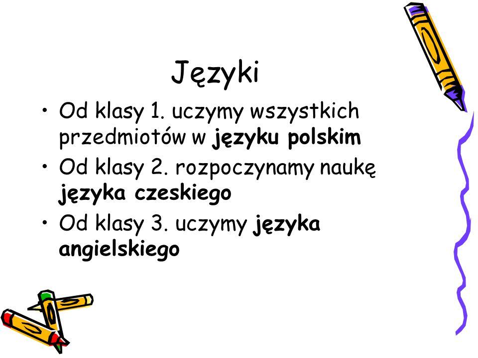 Języki Od klasy 1. uczymy wszystkich przedmiotów w języku polskim Od klasy 2. rozpoczynamy naukę języka czeskiego Od klasy 3. uczymy języka angielskie