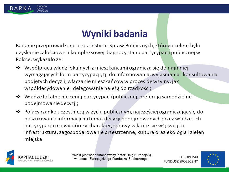 Wyniki badania Badanie przeprowadzone przez Instytut Spraw Publicznych, którego celem było uzyskanie całościowej i kompleksowej diagnozy stanu partycypacji publicznej w Polsce, wykazało że:  Współpraca władz lokalnych z mieszkańcami ogranicza się do najmniej wymagających form partycypacji, tj.