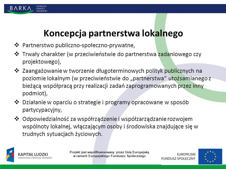 """Koncepcja partnerstwa lokalnego  Partnerstwo publiczno-społeczno-prywatne,  Trwały charakter (w przeciwieństwie do partnerstwa zadaniowego czy projektowego),  Zaangażowanie w tworzenie długoterminowych polityk publicznych na poziomie lokalnym (w przeciwieństwie do """"partnerstwa utożsamianego z bieżącą współpracą przy realizacji zadań zaprogramowanych przez inny podmiot),  Działanie w oparciu o strategie i programy opracowane w sposób partycypacyjny,  Odpowiedzialność za współrządzenie i współzarządzanie rozwojem wspólnoty lokalnej, włączającym osoby i środowiska znajdujące się w trudnych sytuacjach życiowych."""