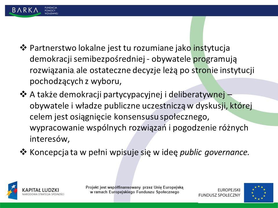  Partnerstwo lokalne jest tu rozumiane jako instytucja demokracji semibezpośredniej - obywatele programują rozwiązania, ale ostateczne decyzje leżą po stronie instytucji pochodzących z wyboru,  A także demokracji partycypacyjnej i deliberatywnej – obywatele i władze publiczne uczestniczą w dyskusji, której celem jest osiągnięcie konsensusu społecznego, wypracowanie wspólnych rozwiązań i pogodzenie różnych interesów,  Koncepcja ta w pełni wpisuje się w ideę public governance.