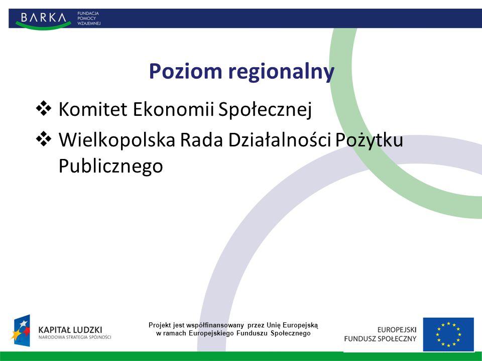 Poziom regionalny  Komitet Ekonomii Społecznej  Wielkopolska Rada Działalności Pożytku Publicznego Projekt jest współfinansowany przez Unię Europejską w ramach Europejskiego Funduszu Społecznego