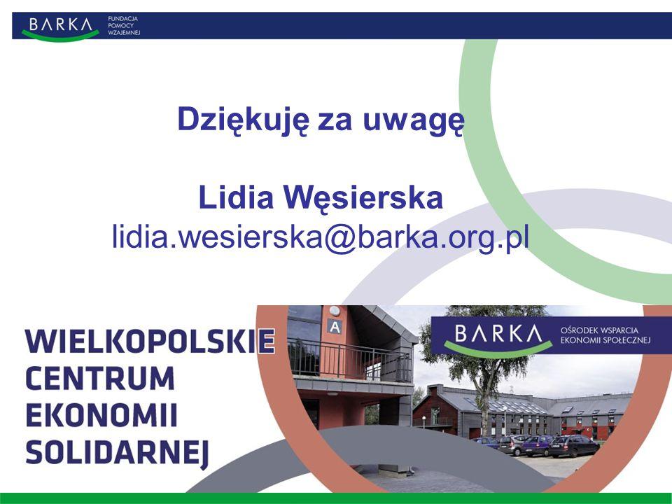 Dziękuję za uwagę Lidia Węsierska lidia.wesierska@barka.org.pl