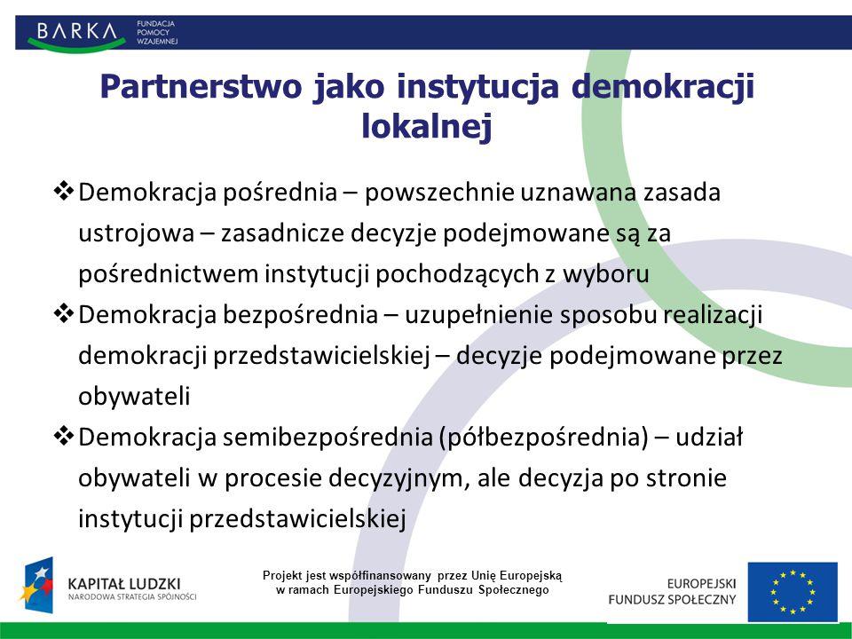 Partnerstwo jako instytucja demokracji lokalnej  Demokracja pośrednia – powszechnie uznawana zasada ustrojowa – zasadnicze decyzje podejmowane są za pośrednictwem instytucji pochodzących z wyboru  Demokracja bezpośrednia – uzupełnienie sposobu realizacji demokracji przedstawicielskiej – decyzje podejmowane przez obywateli  Demokracja semibezpośrednia (półbezpośrednia) – udział obywateli w procesie decyzyjnym, ale decyzja po stronie instytucji przedstawicielskiej Projekt jest współfinansowany przez Unię Europejską w ramach Europejskiego Funduszu Społecznego