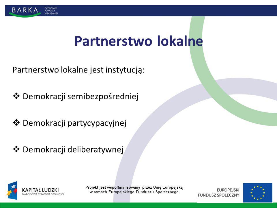 Partnerstwo lokalne Partnerstwo lokalne jest instytucją:  Demokracji semibezpośredniej  Demokracji partycypacyjnej  Demokracji deliberatywnej Projekt jest współfinansowany przez Unię Europejską w ramach Europejskiego Funduszu Społecznego