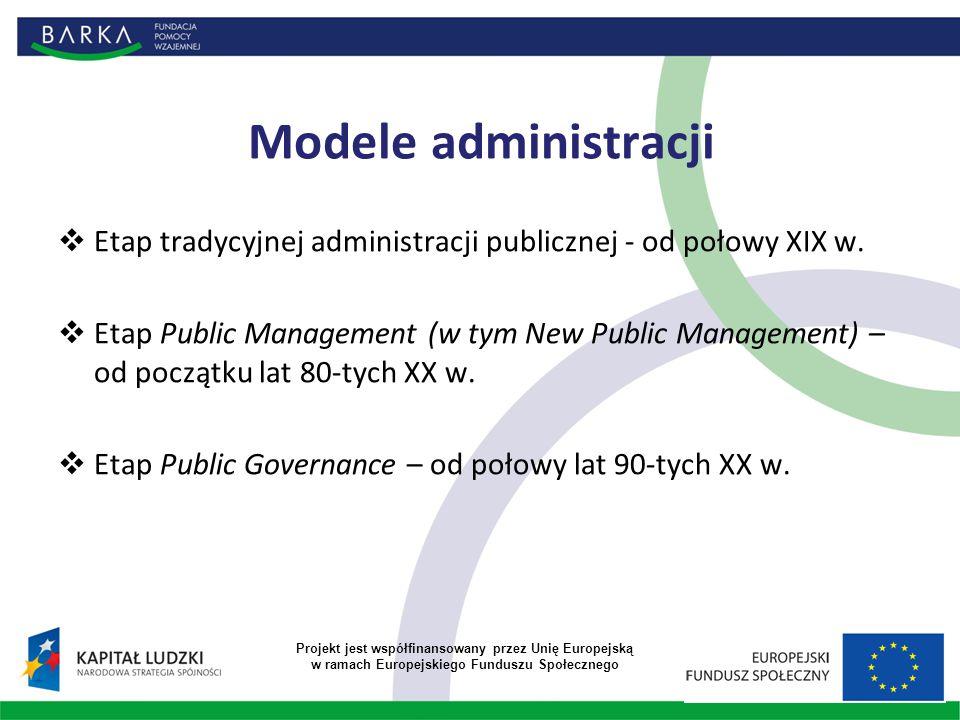 Modele administracji  Etap tradycyjnej administracji publicznej - od połowy XIX w.  Etap Public Management (w tym New Public Management) – od począt