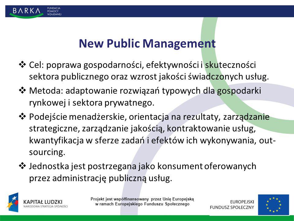 New Public Management  Cel: poprawa gospodarności, efektywności i skuteczności sektora publicznego oraz wzrost jakości świadczonych usług.  Metoda:
