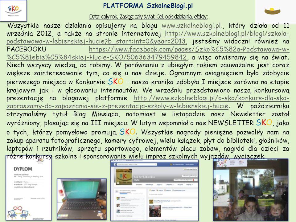 PLATFORMA SzkolneBlogi.pl Data: cały rok, Zasięg: cały świat, Cel, opis działania, efekty: Wszystkie nasze działania opisujemy na blogu www.szkolneblo