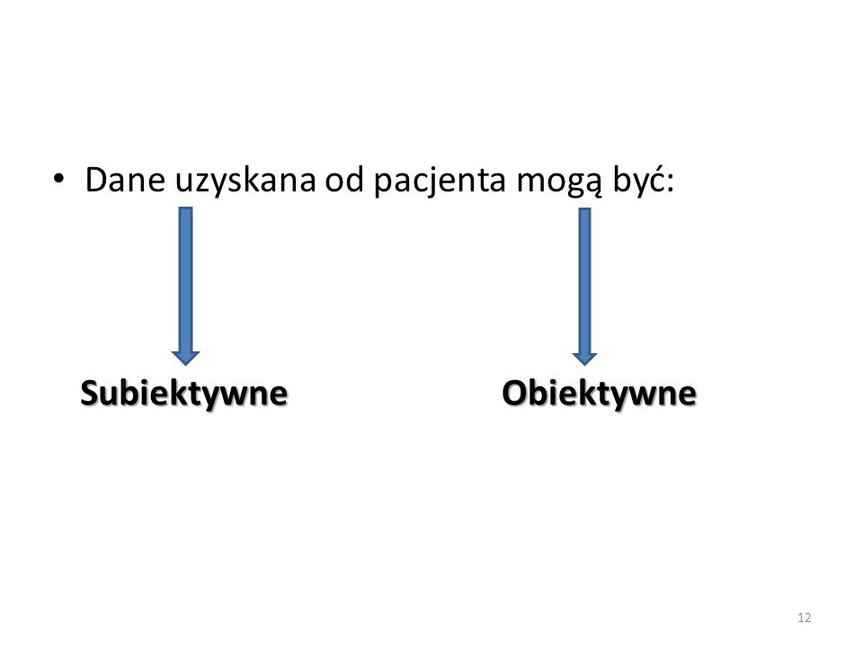 Dane uzyskana od pacjenta mogą być: Subiektywne Obiektywne 12