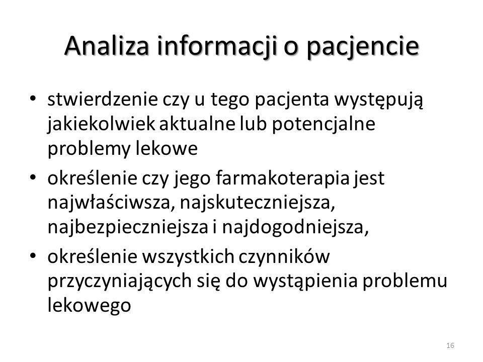 Analiza informacji o pacjencie stwierdzenie czy u tego pacjenta występują jakiekolwiek aktualne lub potencjalne problemy lekowe określenie czy jego fa