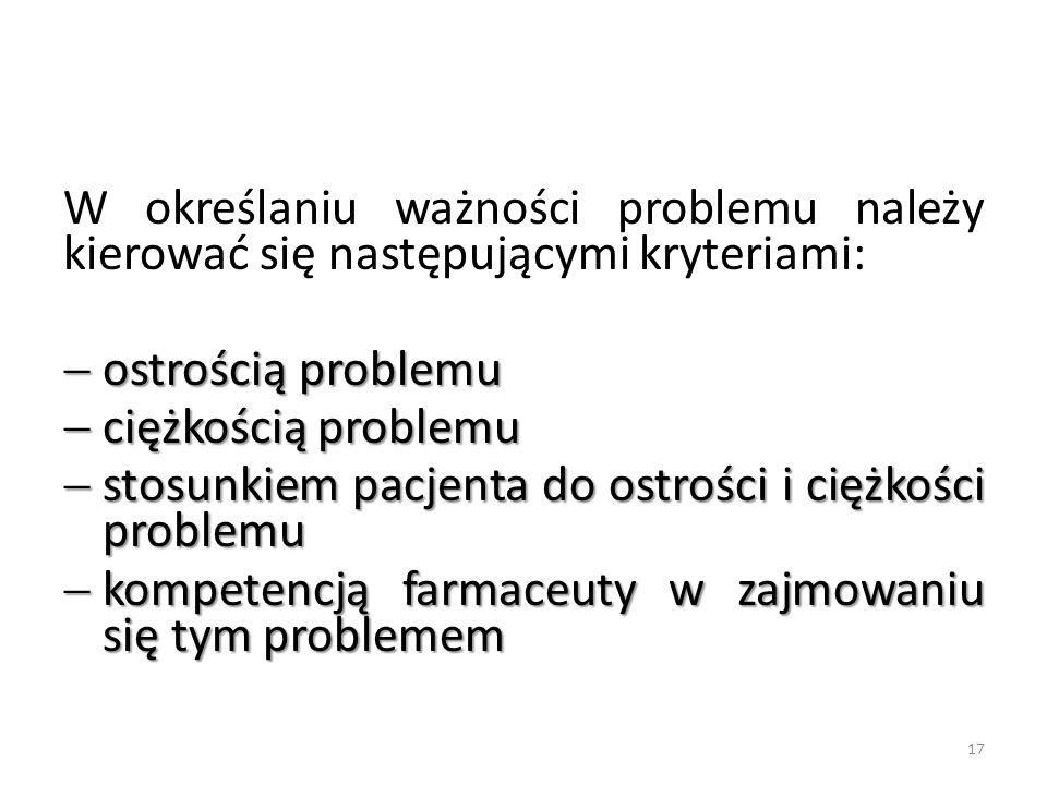 W określaniu ważności problemu należy kierować się następującymi kryteriami:  ostrością problemu  ciężkością problemu  stosunkiem pacjenta do ostro