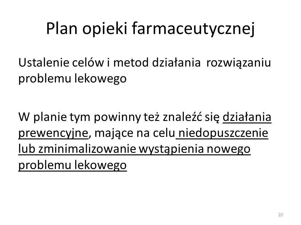 Plan opieki farmaceutycznej Ustalenie celów i metod działania rozwiązaniu problemu lekowego W planie tym powinny też znaleźć się działania prewencyjne