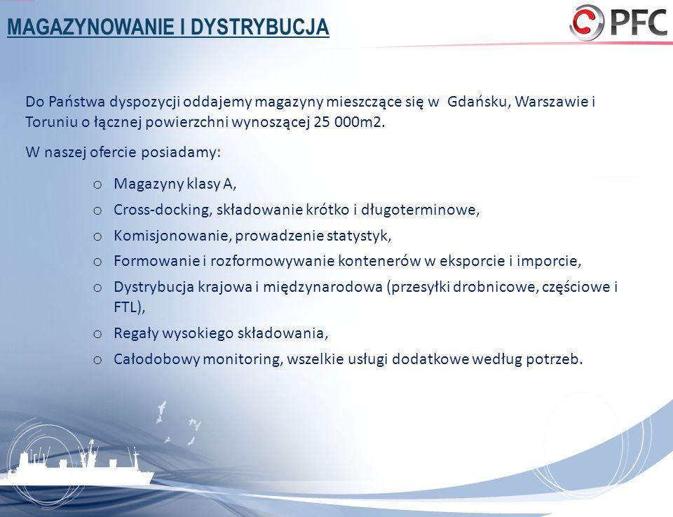 MAGAZYNOWANIE I DYSTRYBUCJA Do Państwa dyspozycji oddajemy magazyny mieszczące się w Gdańsku, Warszawie i Toruniu o łącznej powierzchni wynoszącej 25
