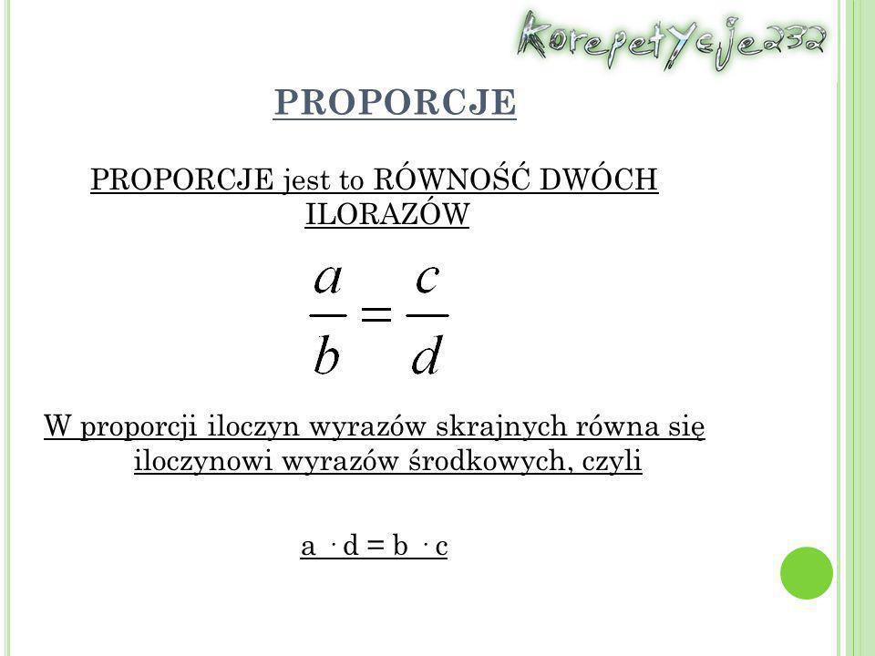 PROPORCJE PROPORCJE jest to RÓWNOŚĆ DWÓCH ILORAZÓW W proporcji iloczyn wyrazów skrajnych równa się iloczynowi wyrazów środkowych, czyli a · d = b · c