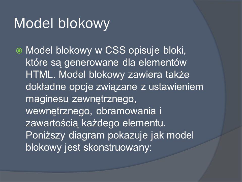 Model blokowy  Model blokowy w CSS opisuje bloki, które są generowane dla elementów HTML.