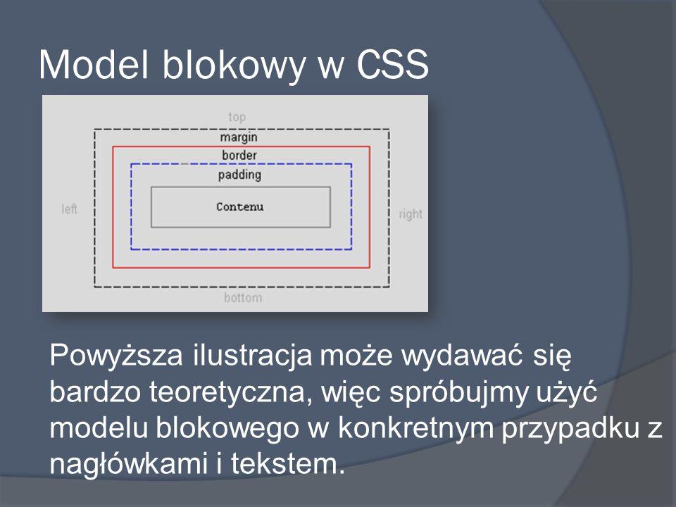 Model blokowy w CSS Powyższa ilustracja może wydawać się bardzo teoretyczna, więc spróbujmy użyć modelu blokowego w konkretnym przypadku z nagłówkami i tekstem.