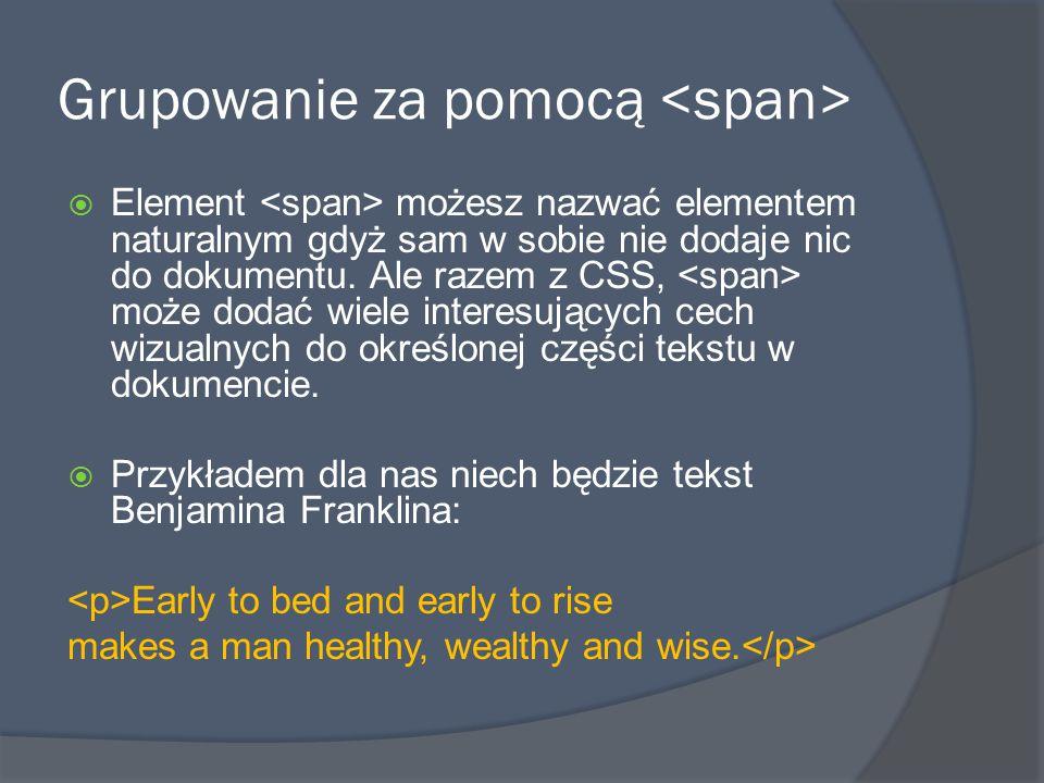  Poprzez dodanie koloru i informacji i czcionce przykład będzie wyglądał następująco: