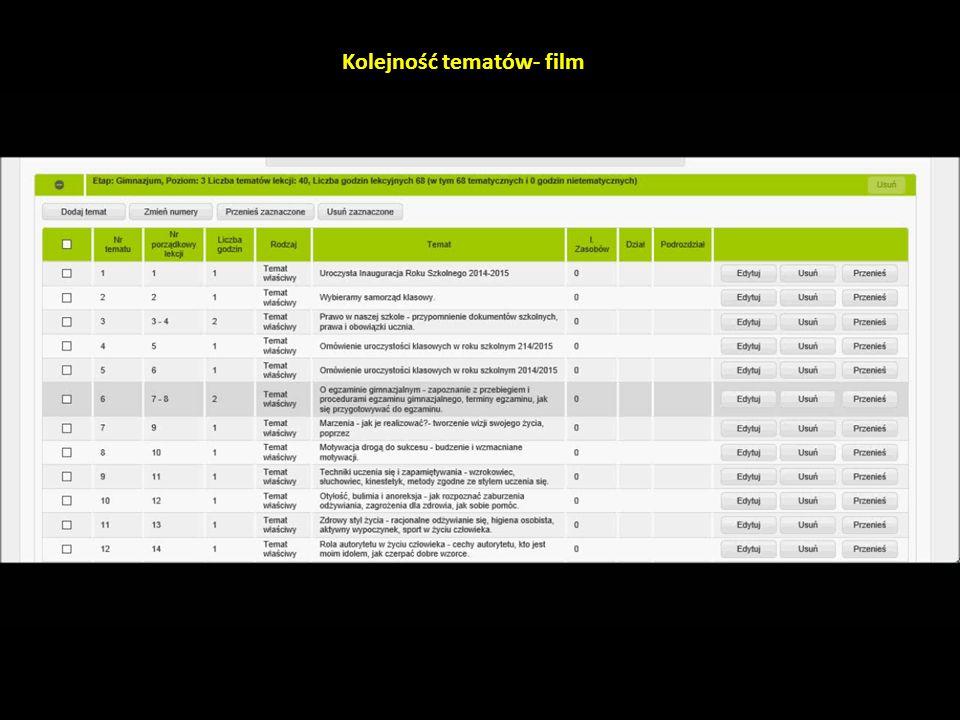 Kolejność tematów- film