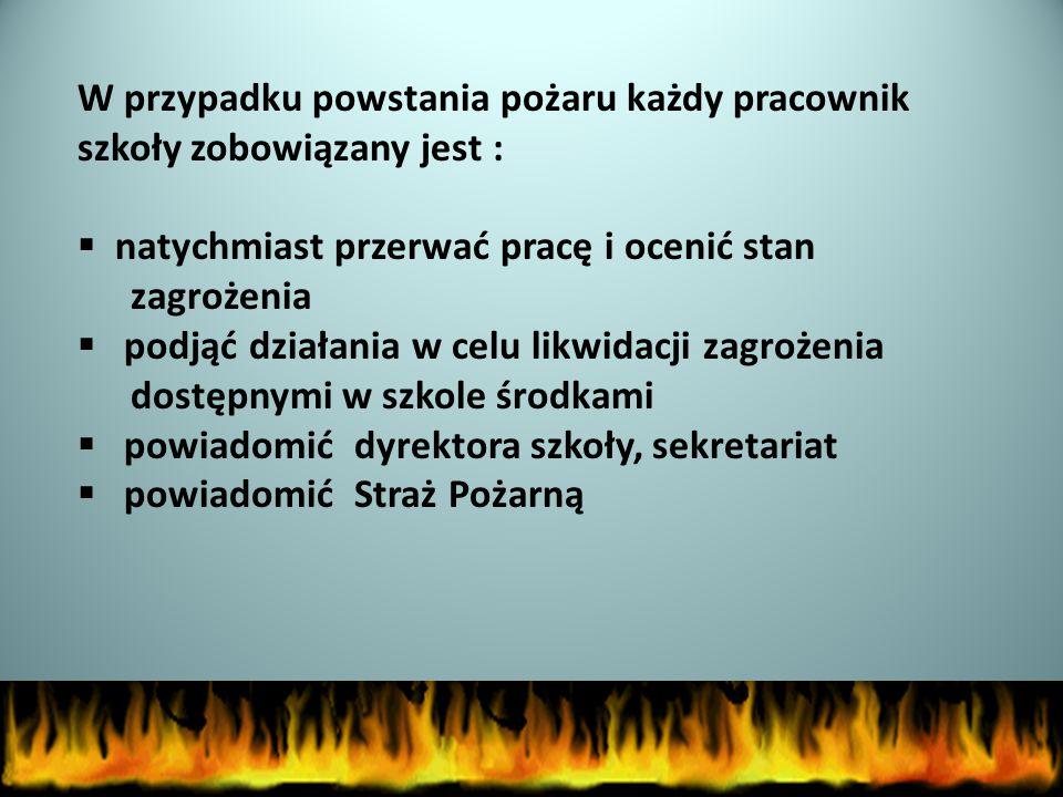 Kiedy zarządza się ewakuację ? 1.Pożar (gdy nieskuteczna jest likwidacja pożaru podręcznymi środkami) 2.Zamach terrorystyczny (otrzymanie informacji o