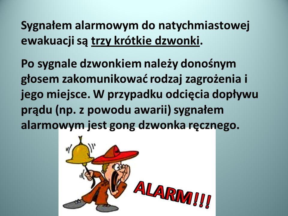 Sygnałem alarmowym do natychmiastowej ewakuacji są trzy krótkie dzwonki.