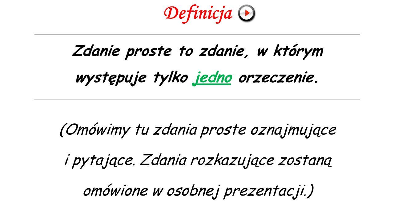 Definicja (Omówimy tu zdania proste oznajmujące i pytające.