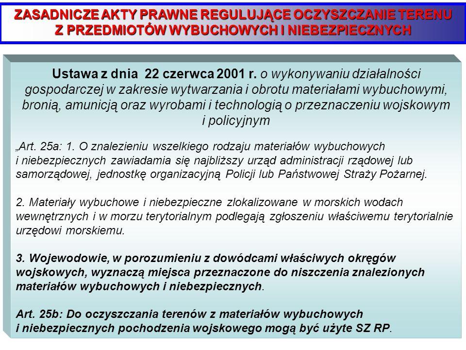 ZASADNICZE AKTY PRAWNE REGULUJĄCE OCZYSZCZANIE TERENU Z PRZEDMIOTÓW WYBUCHOWYCH I NIEBEZPIECZNYCH Ustawa z dnia 26 kwietnia 2007r.