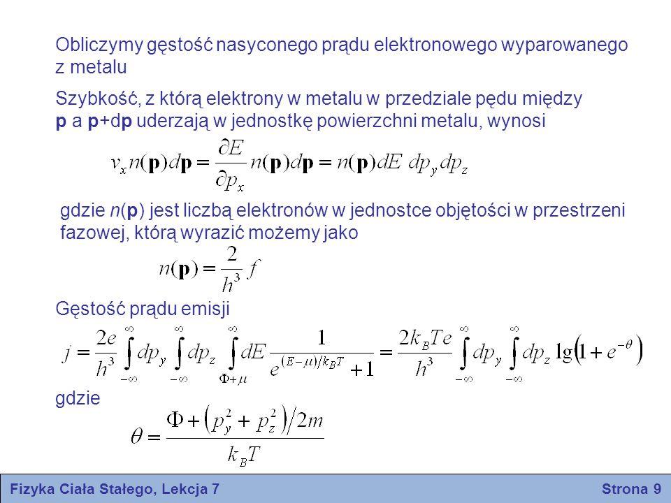 Fizyka Ciała Stałego, Lekcja 7 Strona 9 Obliczymy gęstość nasyconego prądu elektronowego wyparowanego z metalu Szybkość, z którą elektrony w metalu w