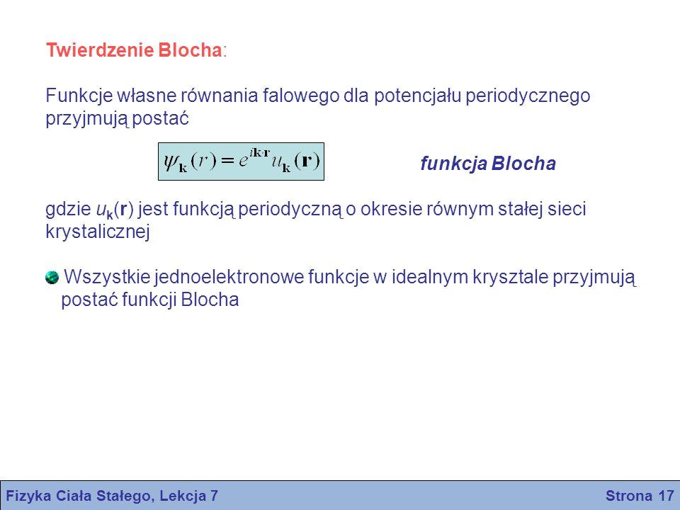 Twierdzenie Blocha: Funkcje własne równania falowego dla potencjału periodycznego przyjmują postać funkcja Blocha gdzie u k (r) jest funkcją periodycz