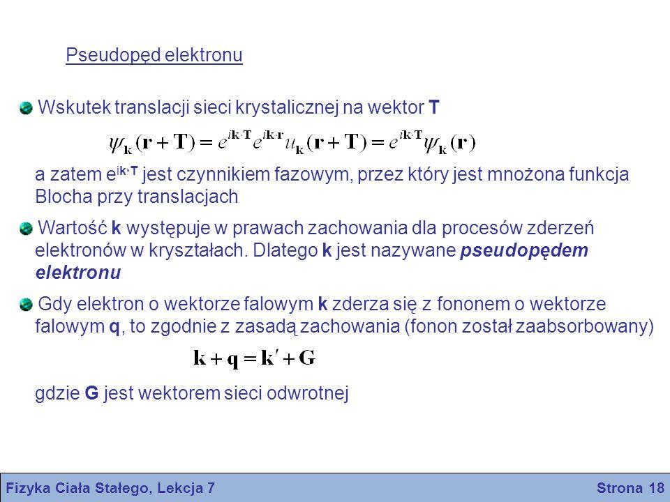 Fizyka Ciała Stałego, Lekcja 7 Strona 18 Pseudopęd elektronu Wskutek translacji sieci krystalicznej na wektor T a zatem e ik·T jest czynnikiem fazowym