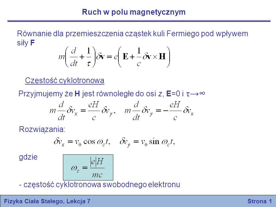 Fizyka Ciała Stałego, Lekcja 7 Strona 1 Ruch w polu magnetycznym Równanie dla przemieszczenia cząstek kuli Fermiego pod wpływem siły F Częstość cyklot