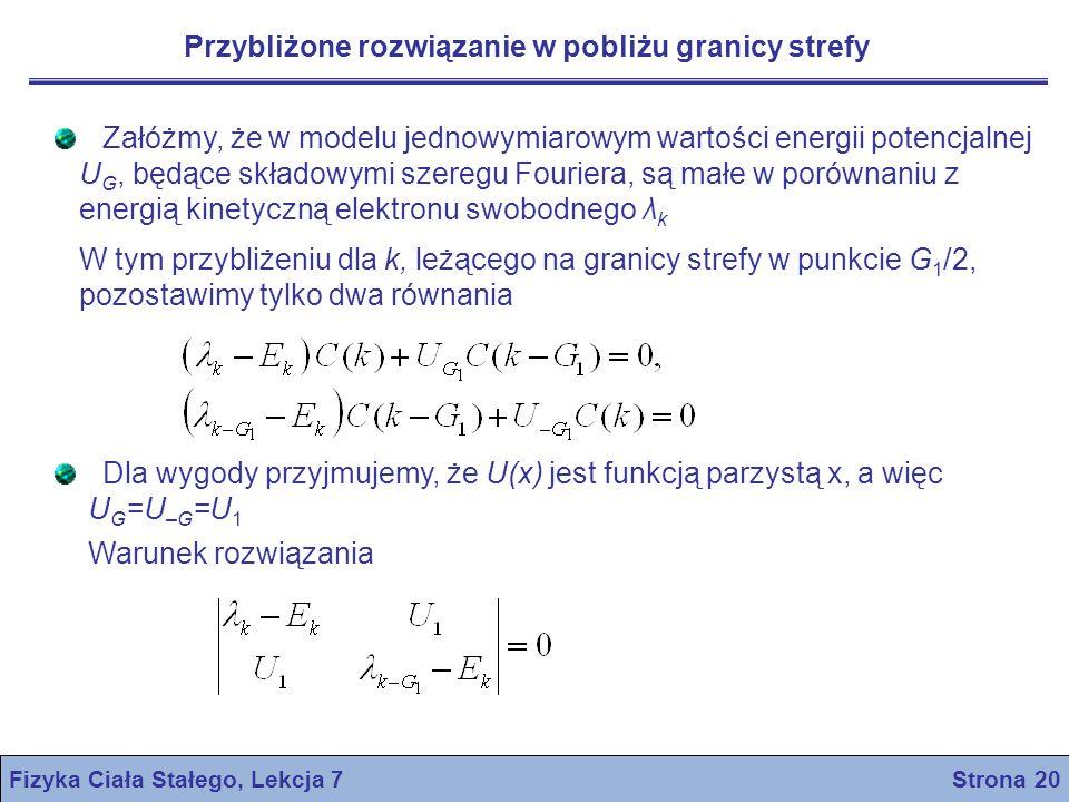 Fizyka Ciała Stałego, Lekcja 7 Strona 20 Przybliżone rozwiązanie w pobliżu granicy strefy Załóżmy, że w modelu jednowymiarowym wartości energii potenc