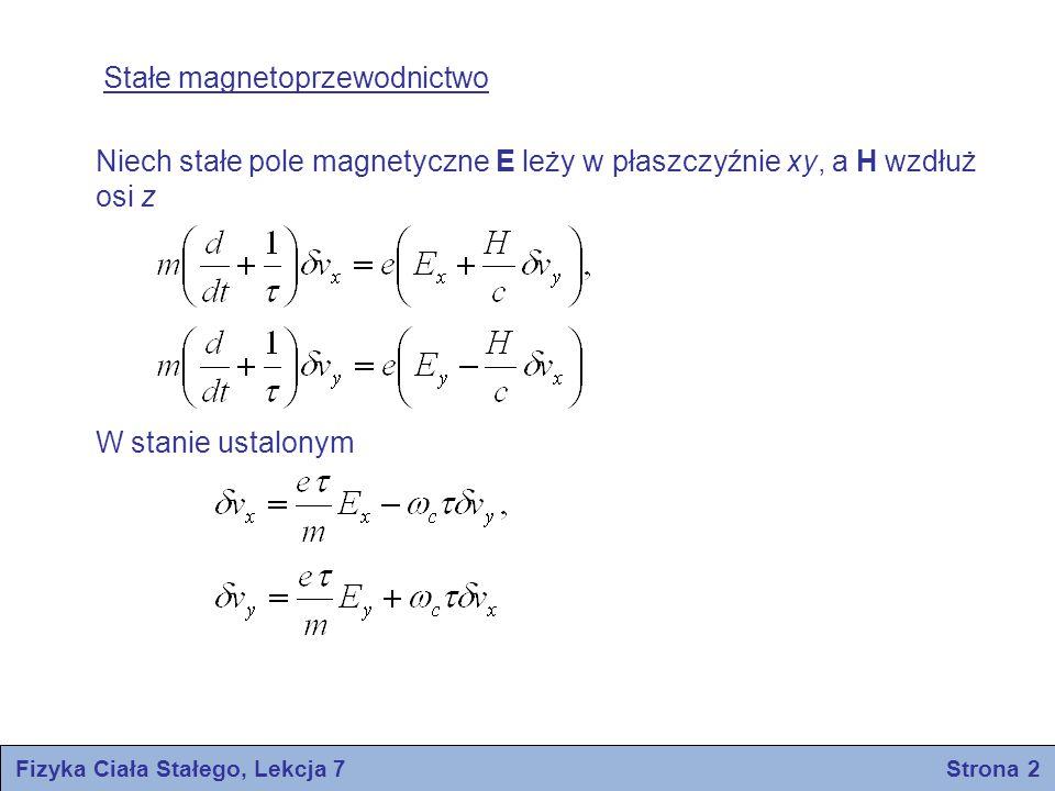 Fizyka Ciała Stałego, Lekcja 7 Strona 2 Stałe magnetoprzewodnictwo Niech stałe pole magnetyczne E leży w płaszczyźnie xy, a H wzdłuż osi z W stanie us