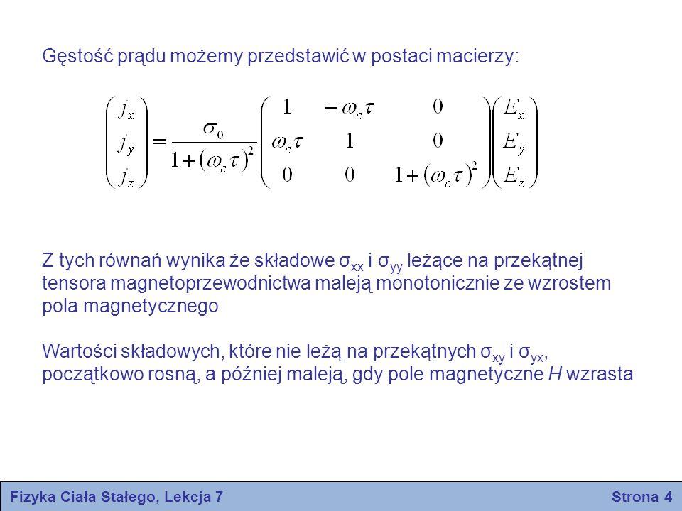 Fizyka Ciała Stałego, Lekcja 7 Strona 4 Gęstość prądu możemy przedstawić w postaci macierzy: Z tych równań wynika że składowe σ xx i σ yy leżące na pr