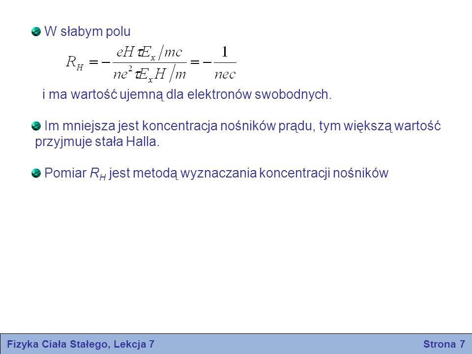 Fizyka Ciała Stałego, Lekcja 7 Strona 7 W słabym polu i ma wartość ujemną dla elektronów swobodnych. Im mniejsza jest koncentracja nośników prądu, tym