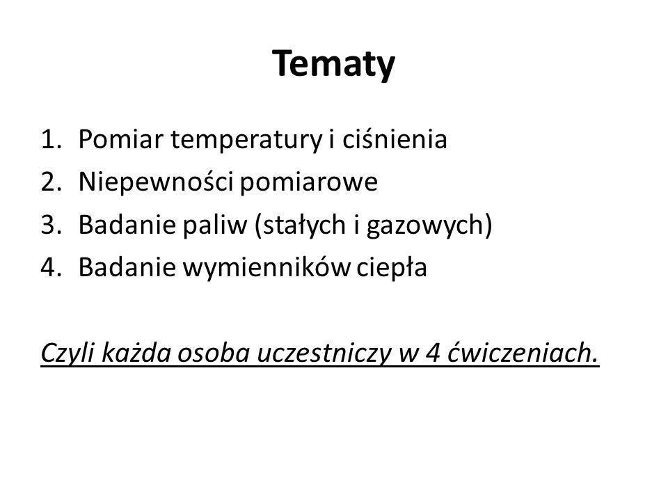 Tematy 1.Pomiar temperatury i ciśnienia 2.Niepewności pomiarowe 3.Badanie paliw (stałych i gazowych) 4.Badanie wymienników ciepła Czyli każda osoba uczestniczy w 4 ćwiczeniach.