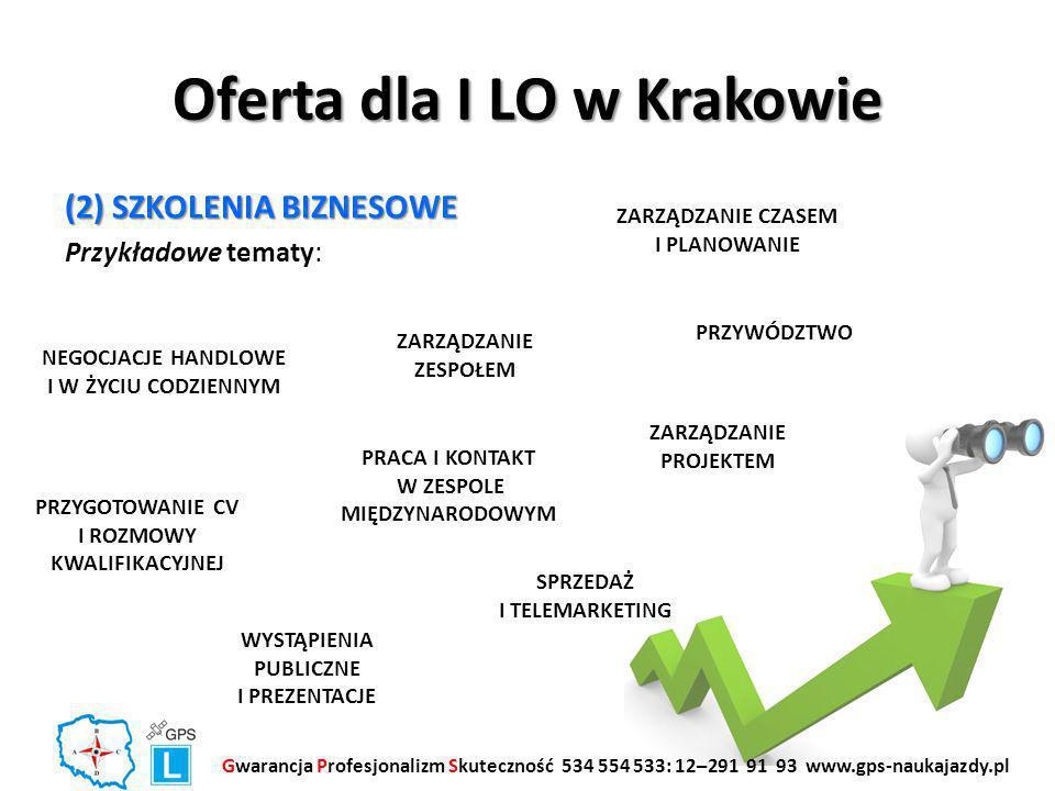Oferta dla I LO w Krakowie (2) SZKOLENIA BIZNESOWE Przykładowe tematy: Gwarancja Profesjonalizm Skuteczność 534 554 533: 12–291 91 93 www.gps-naukajazdy.pl ZARZĄDZANIE ZESPOŁEM ZARZĄDZANIE PROJEKTEM NEGOCJACJE HANDLOWE I W ŻYCIU CODZIENNYM WYSTĄPIENIA PUBLICZNE I PREZENTACJE SPRZEDAŻ I TELEMARKETING PRZYWÓDZTWO ZARZĄDZANIE CZASEM I PLANOWANIE PRZYGOTOWANIE CV I ROZMOWY KWALIFIKACYJNEJ PRACA I KONTAKT W ZESPOLE MIĘDZYNARODOWYM