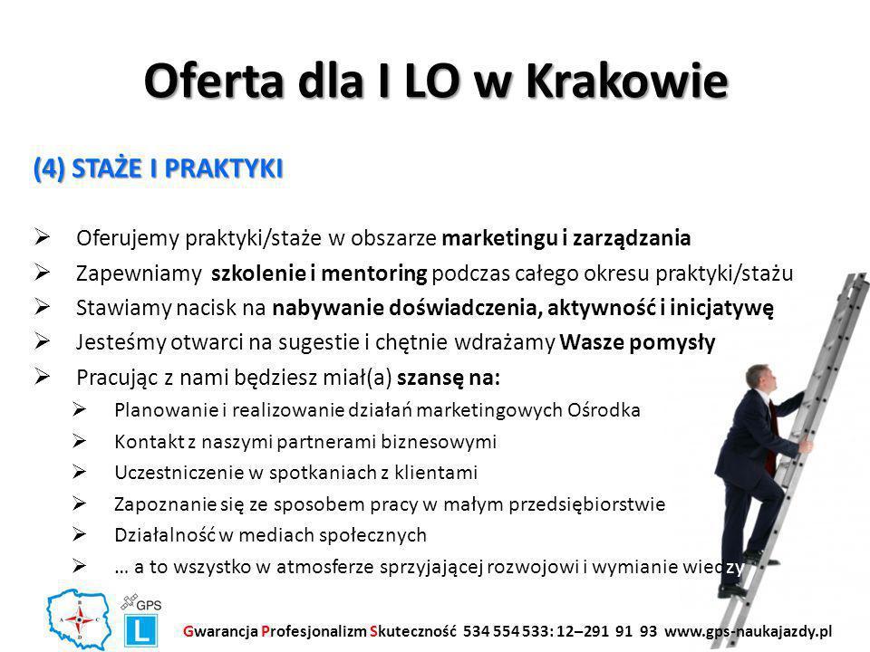 Oferta dla I LO w Krakowie (4) STAŻE I PRAKTYKI  Oferujemy praktyki/staże w obszarze marketingu i zarządzania  Zapewniamy szkolenie i mentoring podczas całego okresu praktyki/stażu  Stawiamy nacisk na nabywanie doświadczenia, aktywność i inicjatywę  Jesteśmy otwarci na sugestie i chętnie wdrażamy Wasze pomysły  Pracując z nami będziesz miał(a) szansę na:  Planowanie i realizowanie działań marketingowych Ośrodka  Kontakt z naszymi partnerami biznesowymi  Uczestniczenie w spotkaniach z klientami  Zapoznanie się ze sposobem pracy w małym przedsiębiorstwie  Działalność w mediach społecznych  … a to wszystko w atmosferze sprzyjającej rozwojowi i wymianie wiedzy Gwarancja Profesjonalizm Skuteczność 534 554 533: 12–291 91 93 www.gps-naukajazdy.pl