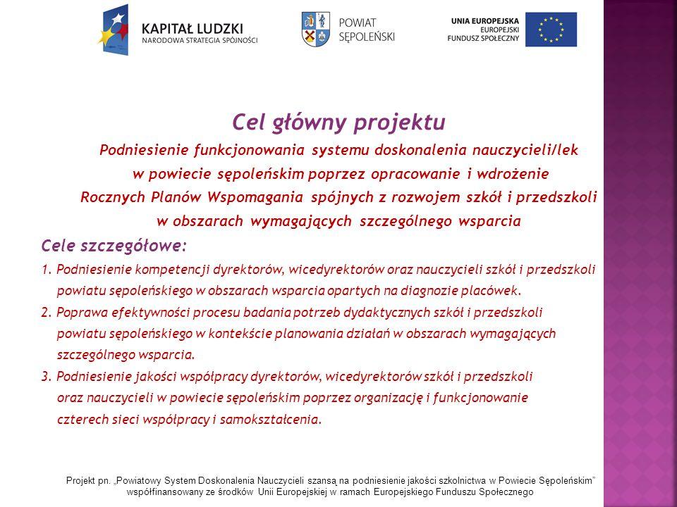 Cel główny projektu Podniesienie funkcjonowania systemu doskonalenia nauczycieli/lek w powiecie sępoleńskim poprzez opracowanie i wdrożenie Rocznych Planów Wspomagania spójnych z rozwojem szkół i przedszkoli w obszarach wymagających szczególnego wsparcia Cele szczegółowe: 1.