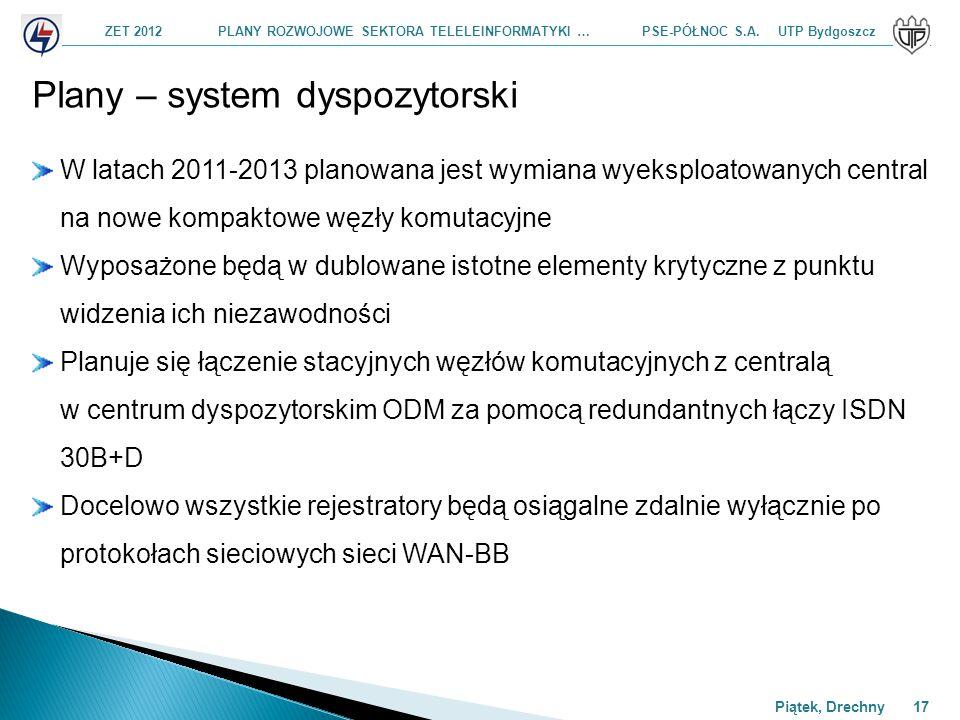 ZET 2012 PLANY ROZWOJOWE SEKTORA TELELEINFORMATYKI … PSE-PÓŁNOC S.A. UTP Bydgoszcz Piątek, Drechny 17 Plany – system dyspozytorski W latach 2011-2013