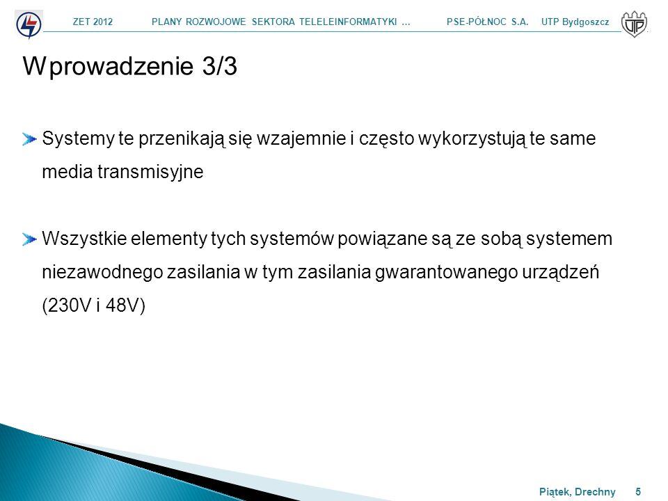 ZET 2012 PLANY ROZWOJOWE SEKTORA TELELEINFORMATYKI … PSE-PÓŁNOC S.A. UTP Bydgoszcz Piątek, Drechny 5 Wprowadzenie 3/3 Systemy te przenikają się wzajem