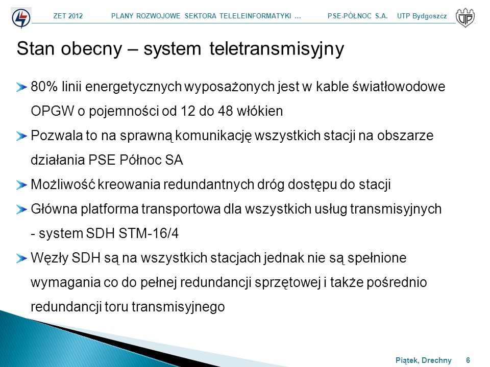 ZET 2012 PLANY ROZWOJOWE SEKTORA TELELEINFORMATYKI … PSE-PÓŁNOC S.A. UTP Bydgoszcz Piątek, Drechny 6 Stan obecny – system teletransmisyjny 80% linii e
