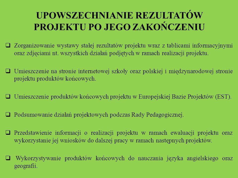 UPOWSZECHNIANIE REZULTATÓW PROJEKTU PO JEGO ZAKOŃCZENIU  Zorganizowanie wystawy stałej rezultatów projektu wraz z tablicami informacyjnymi oraz zdjęciami nt.