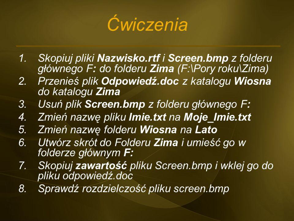 Ćwiczenia 1.Skopiuj pliki Nazwisko.rtf i Screen.bmp z folderu głównego F: do folderu Zima (F:\Pory roku\Zima) 2.Przenieś plik Odpowiedź.doc z katalogu